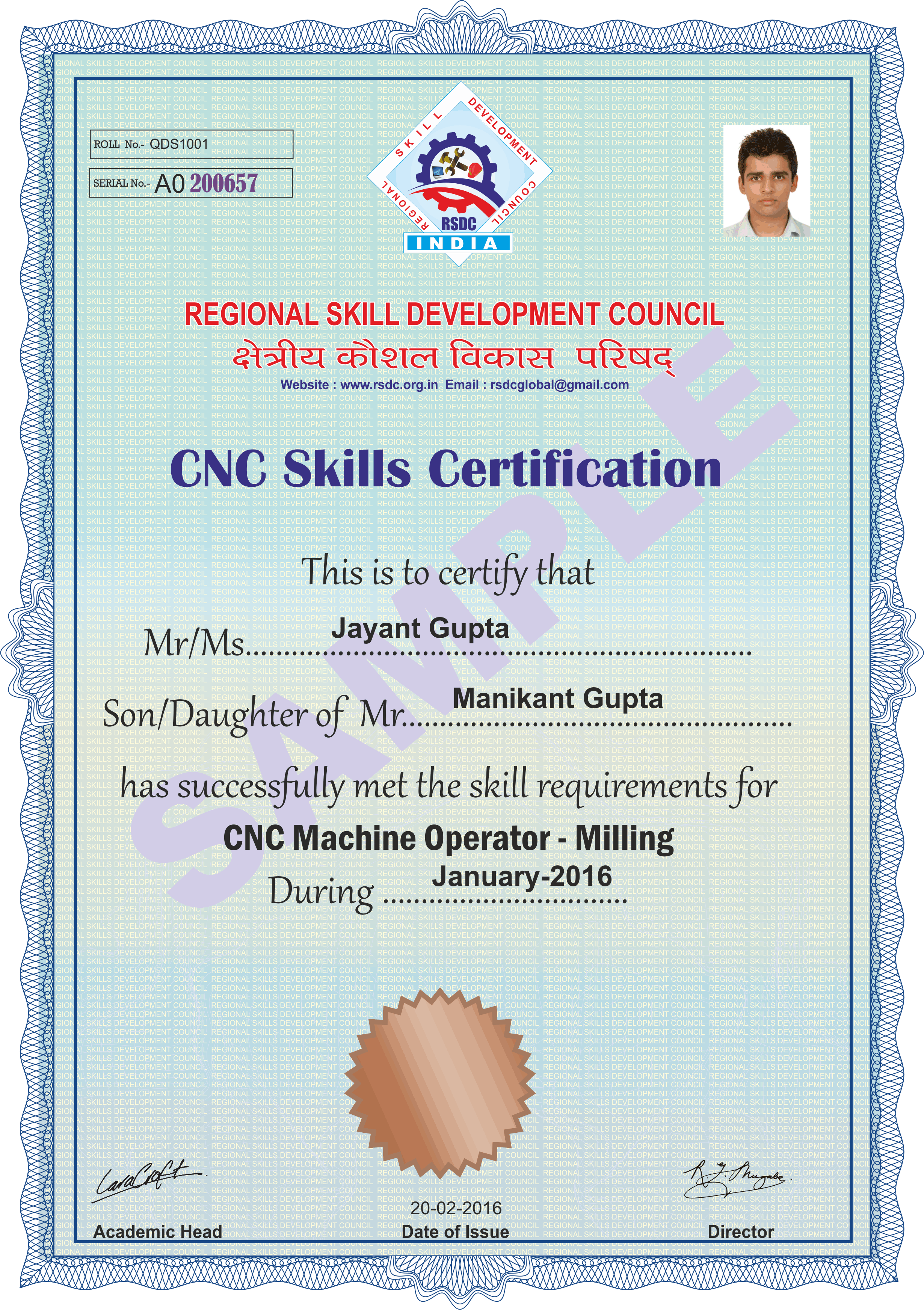 Part P Certificate >> RSDC-Regional Skill Development Council, Lucknow (U.P.) INDIA | CNC